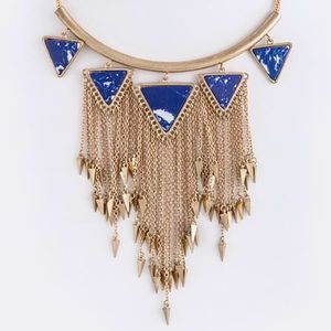 Spear triangle stone tassel necklace new